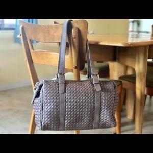 Handbags - Taupe Weave Large Handbag (Pink Haley)